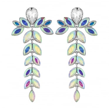 Aurora borealis crystal floral drop earring