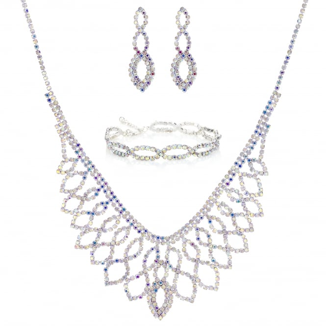 Silver Aurora Borealis Diamante Jewellery Set