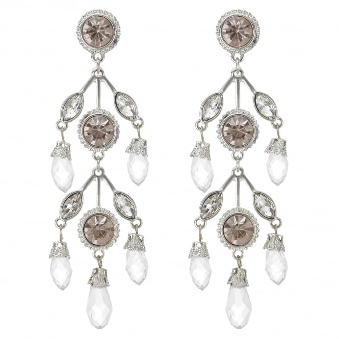 Silver Beaded Statement  Earring