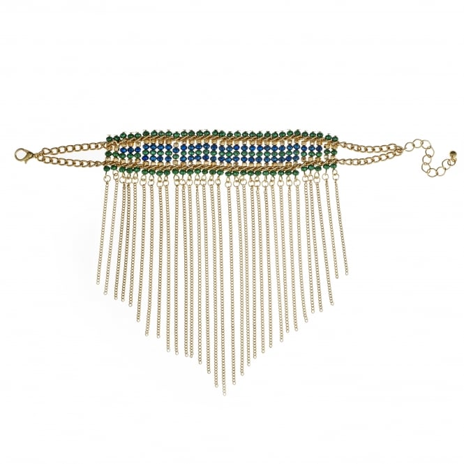Gold Green Beaded Fringed Bracelet