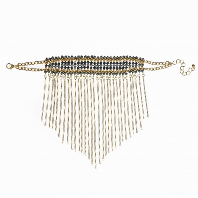 Gold Black Beaded Fringed Bracelet