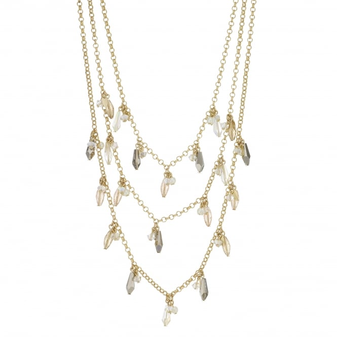 Gold Beaded Multi Row Necklace