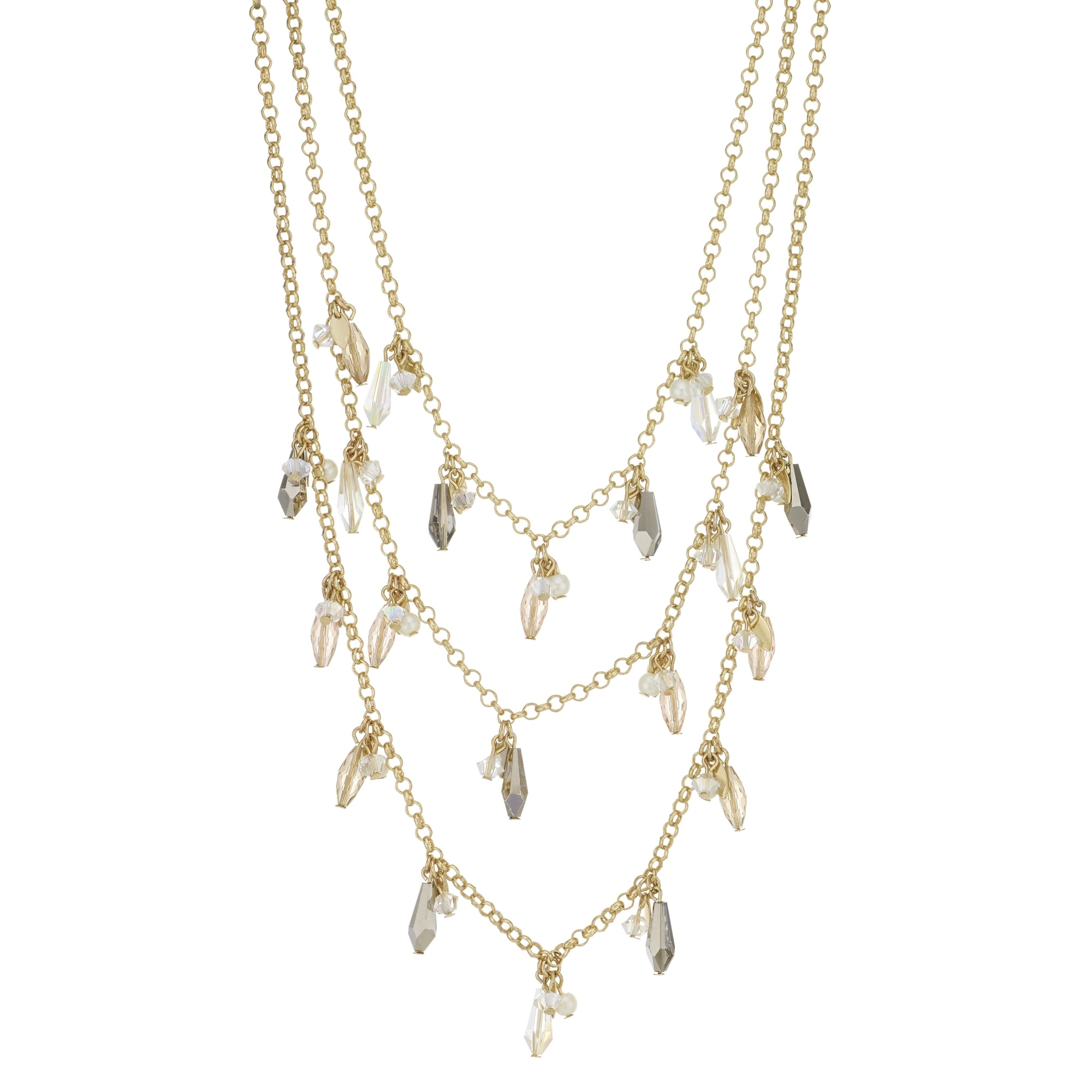 in metallic schwartz two allen row abs jewelry gunmetal by lyst multi necklace tone gold gallery