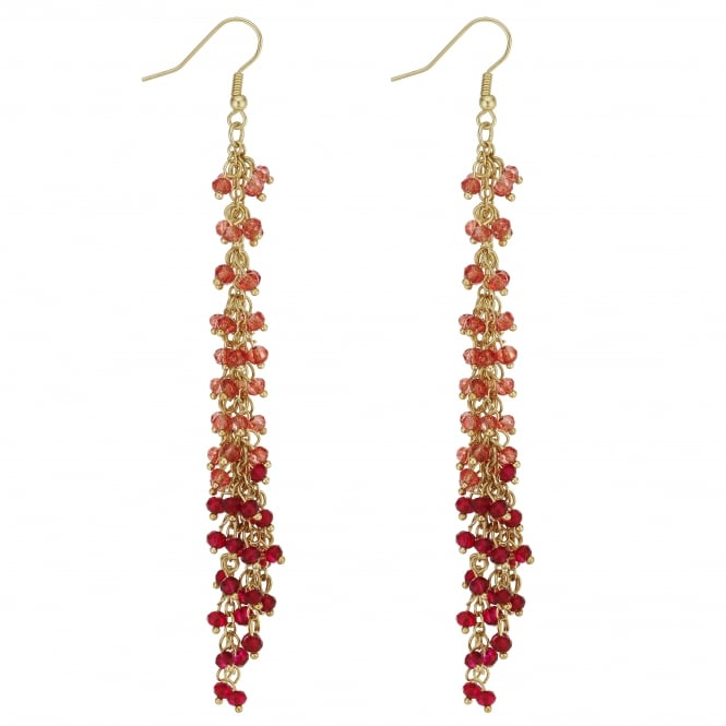 MOOD By Jon Richard Gold And Red Ombre Bead Drop Earring