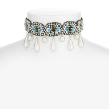 Blue Beaded Pearl Droplet Choker Necklace