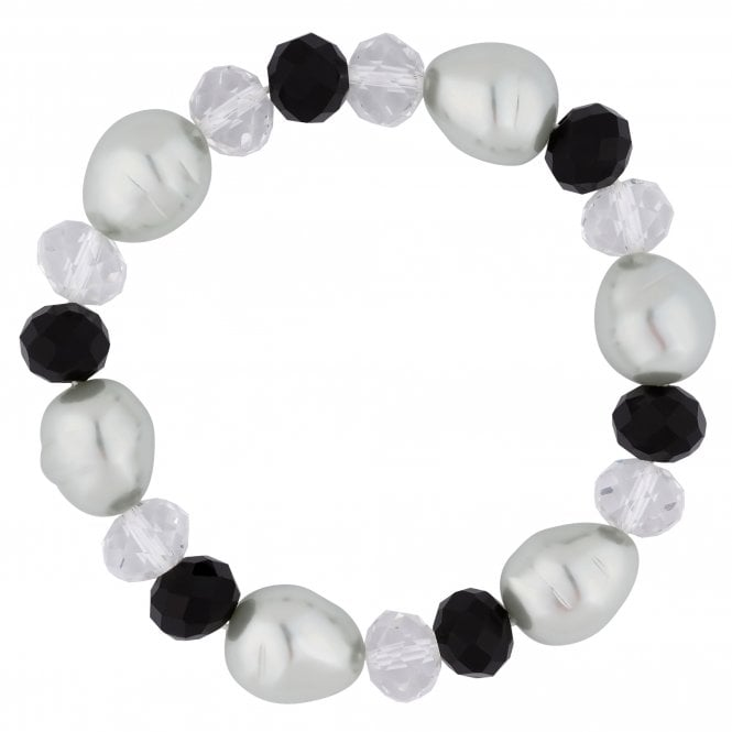 Black Bead And Pearl Stretch Bracelet