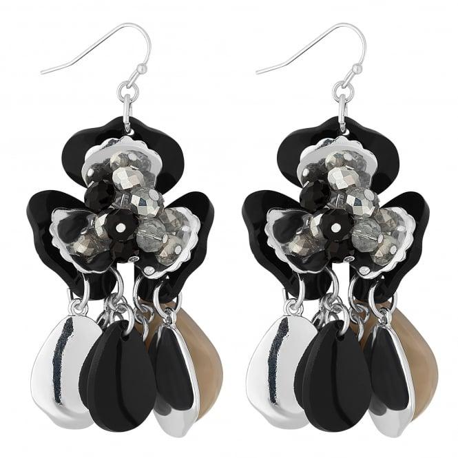 Black beaded flower earring