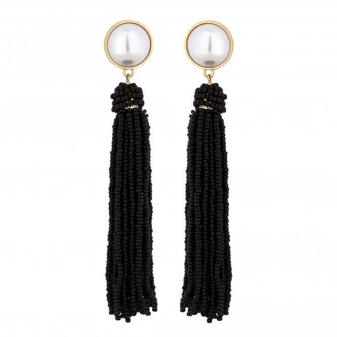Black Beaded Pearl Tassel Earring