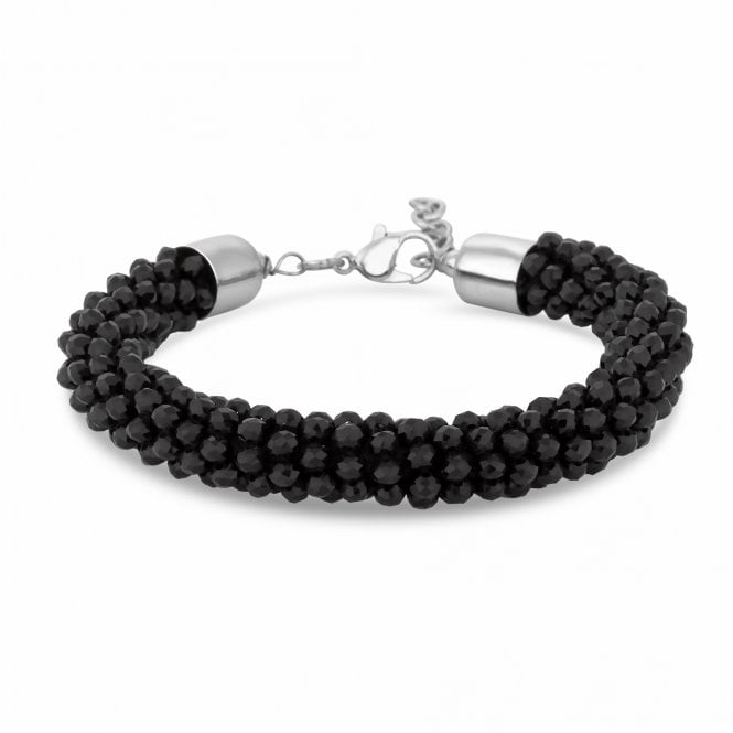 Black Beaded Statement Bracelet