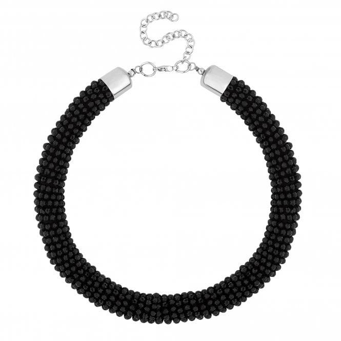 Black Beaded Statement Necklace