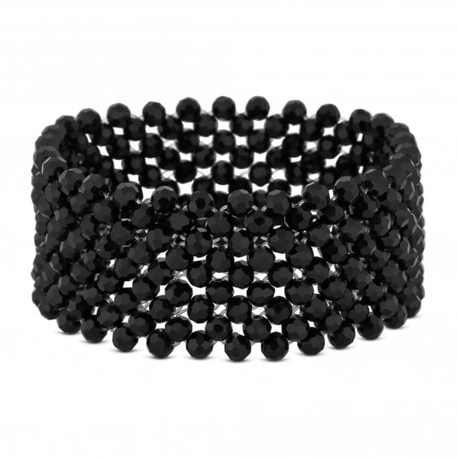 Black Beaded Stretch Bracelet