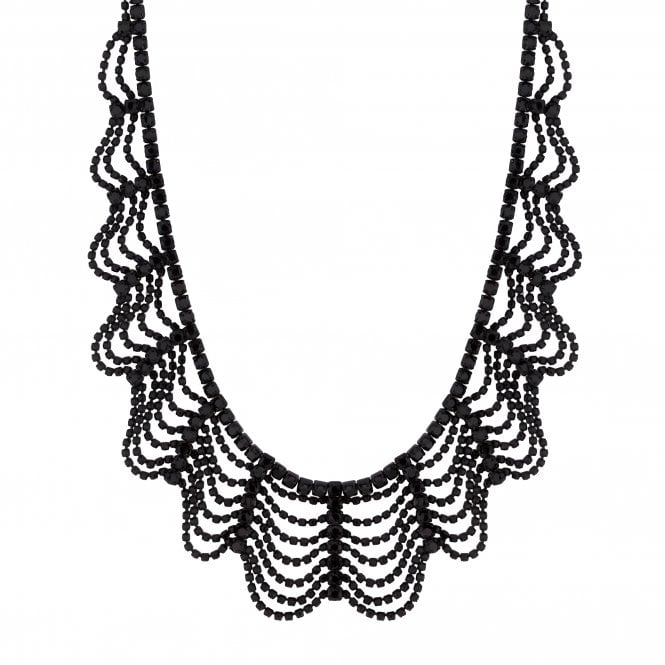 Black Crystal Draped Collar Necklace