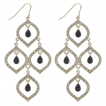Black crystal droplet open gold earring