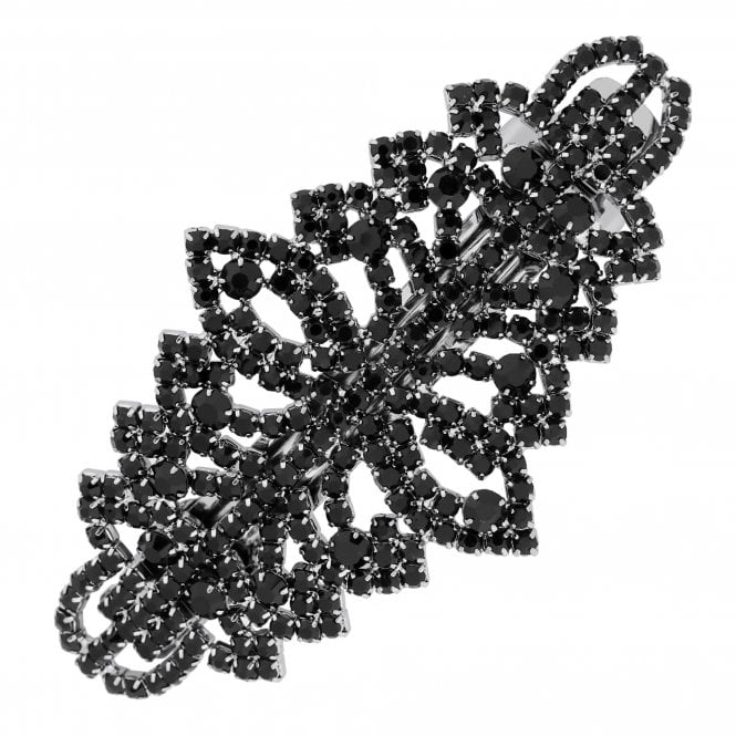 Black Crystal Filigree Hair Slide