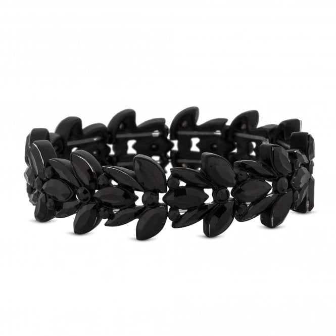 Black Crystal Leaf Stretch Bracelet