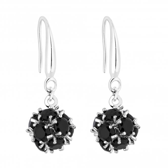 Black Crystal Orb Drop Earring