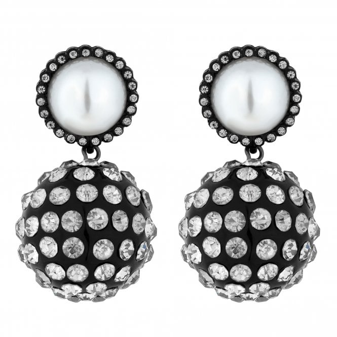 Black Crystal Pave Orb Drop Earring