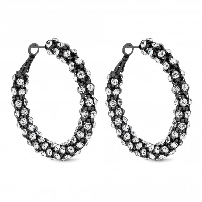 Black Crystal Statement Hoop Earring