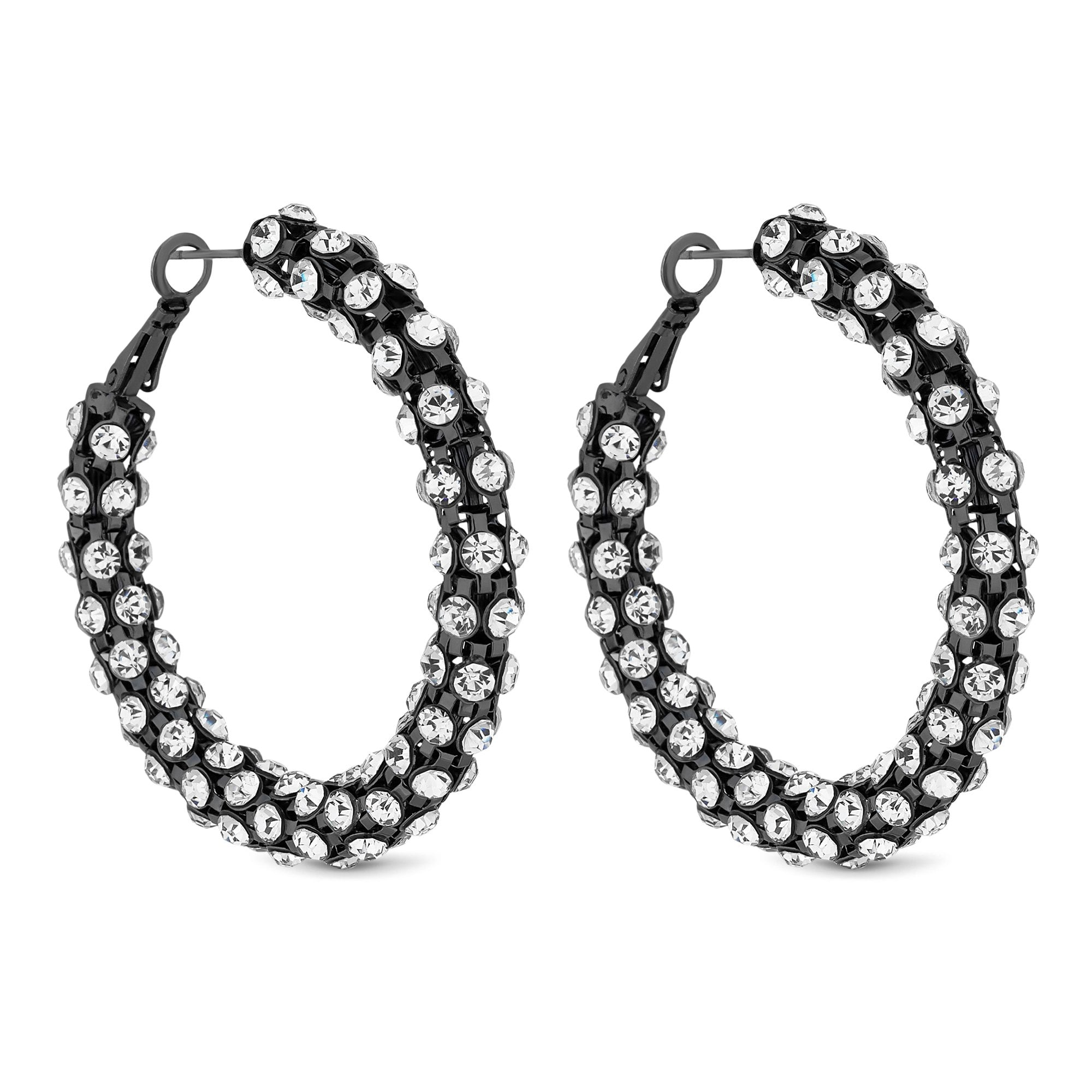 Mood By Jon Richard Black Crystal Statement Hoop Earring
