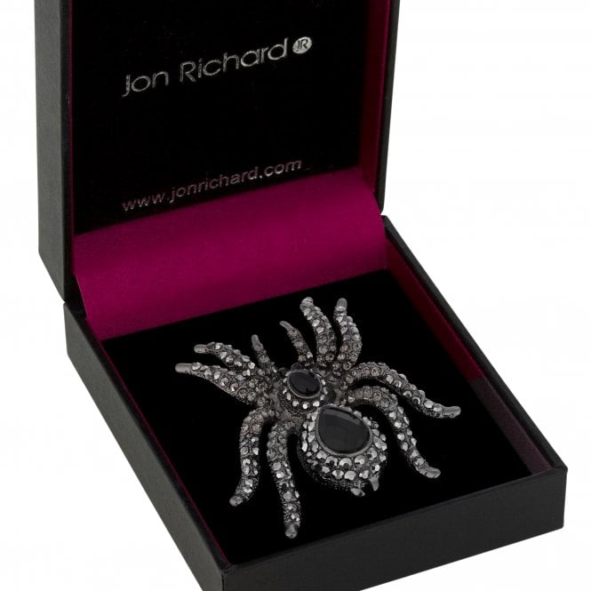 Black Crystal Statement Spider Brooch