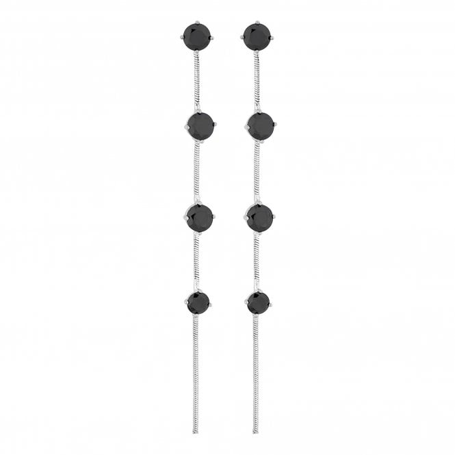 Black Crystal Station Linear Drop Earring