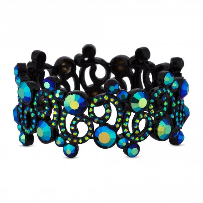 Black Crystal Swirl Stretch Bracelet