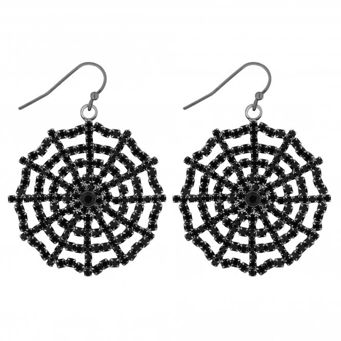Black Crystal Web Drop Earring