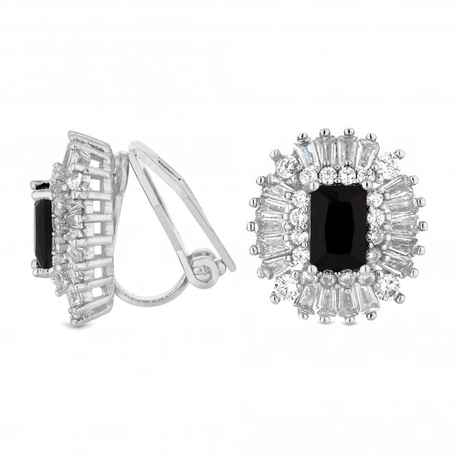Black Cubic Zirconia Halo Clip On Earring
