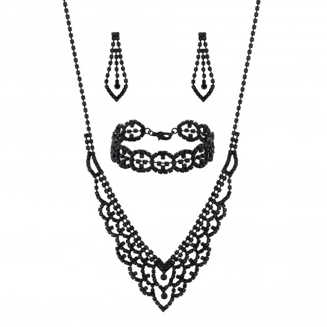 Black Diamante Crystal Jewellery set