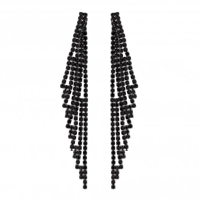 Black Diamante Drop Statement Earring
