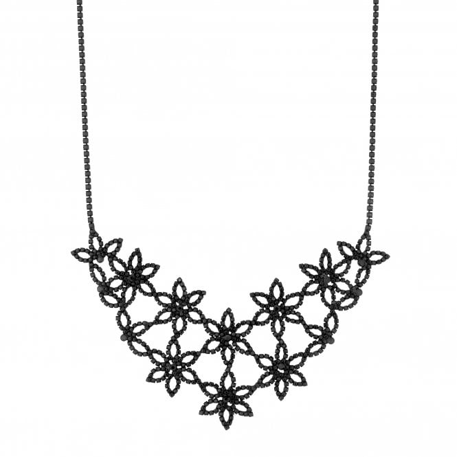 Black Diamante Flower Statement Necklace