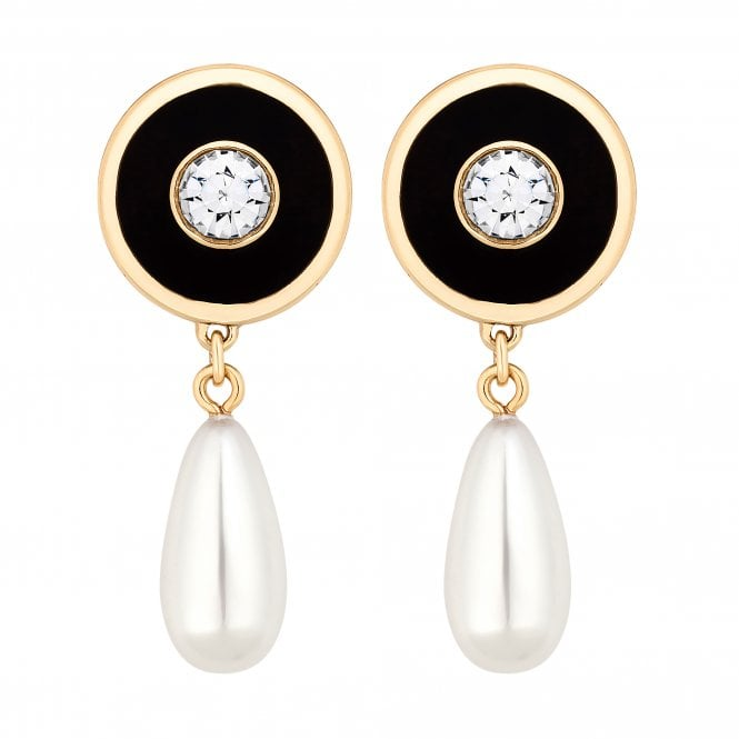 Black Disc And Pearl Gold Drop Earring