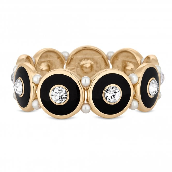 Black Disc And Pearl Gold Stretch Bracelet