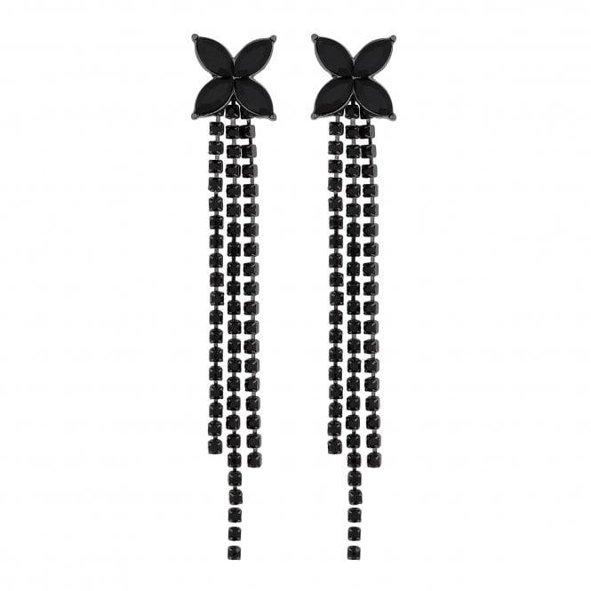 Black Floral Crystal Diamante Drop Earring