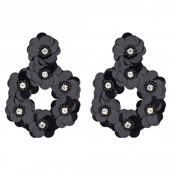 Black Floral Sequin Statement Earring
