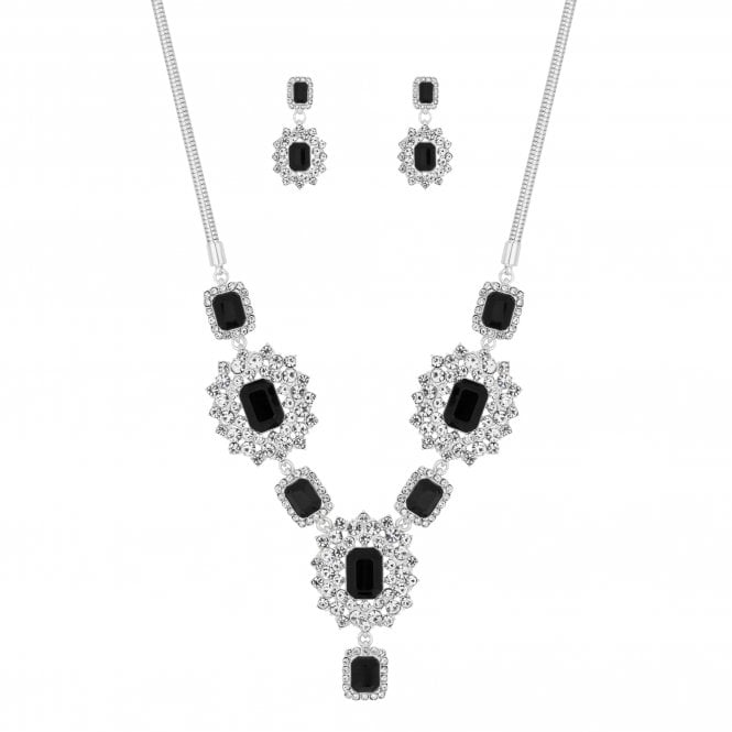 Black Ornate Crystal Jewellery Set