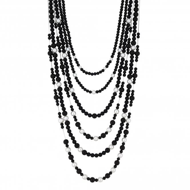 Black Pearl Multi Row Statement Necklace