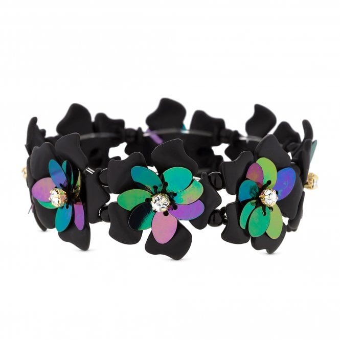Black Sequin And Crystal Floral Stretch Bracelet