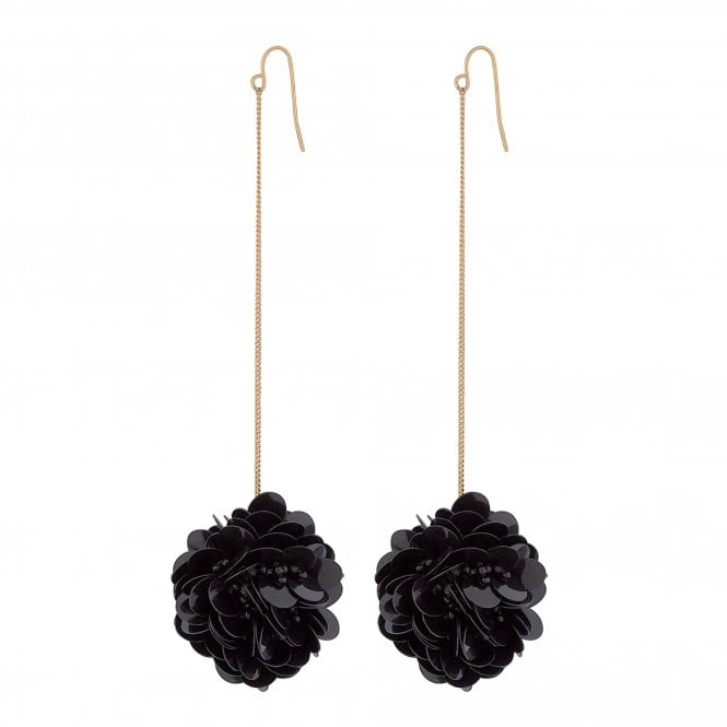 Black Sequin Burst Drop Earring