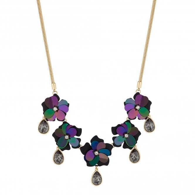 Black Sequin Flower Statement Necklace