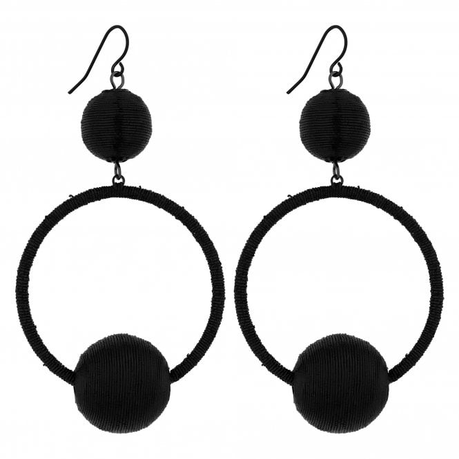 Black Threaded Orb Hoop Earring