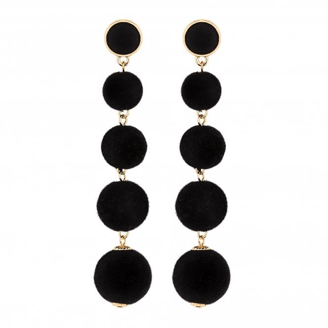 Black Velvet Orb Drop Statement Earring