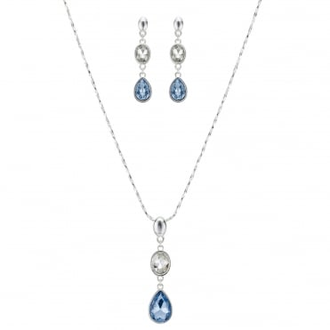 Blue and silver crystal jewellery set
