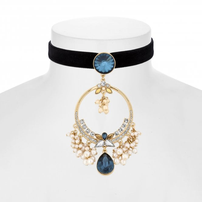 Blue Crystal And Pearl Statement Choker Necklace