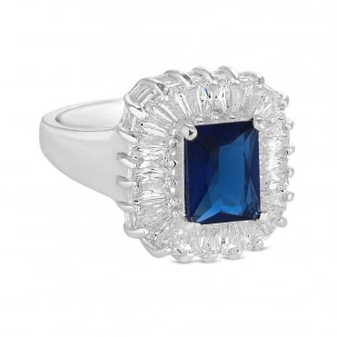 Blue crystal baguette ring