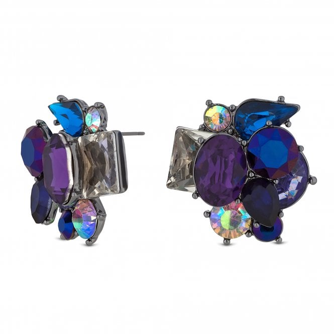 Blue Crystal Cluster Oversized Stud Earring