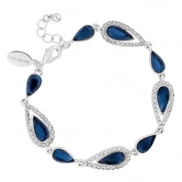 Blue crystal elongated peardrop bracelet