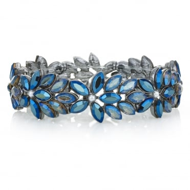 Blue Crystal Floral Stretch Bracelet