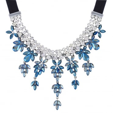 Blue Crystal Floral Statement Necklace