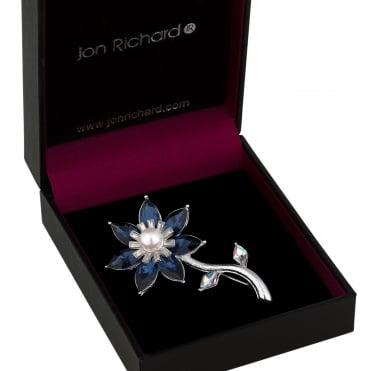 Blue crystal flower brooch